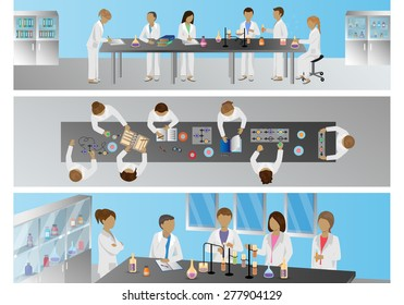 Medical Scientists, Laboratory Research - Different View - Set - Vector Illustration, Graphic Design Editable For Your Design
