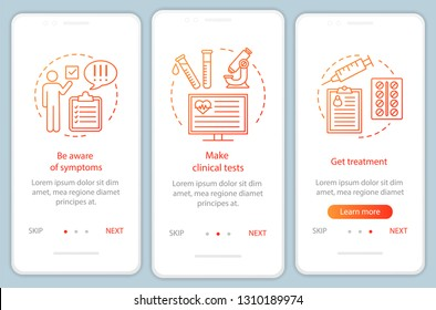 Medical screening onboarding mobile app page screen with linear concepts. Make tests, get treatment walkthrough steps graphic instructions. UX, UI, GUI vector template with illustrations