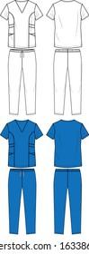 Medical Scrub Set Fashion Flat Templates