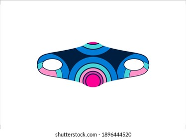 Medical Scuba Mask Muticolor Pattern Rounded Vector