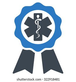 Medical Seal vector icon. Style is bicolor flat symbol, smooth blue colors, rounded angles, white background.