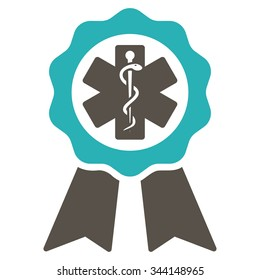 Medical Seal vector icon. Style is bicolor flat symbol, grey and cyan colors, rounded angles, white background.