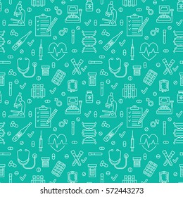 Medical seamless pattern blue color , clinic vector illustration. Hospital thin line icons - thermometer, check up, diagnostic, microscope, stethoscope. Cute repeated texture business presentation.
