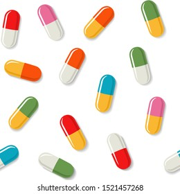Medical seamless pattern with color capsules. Vector illustration in flat style isolated over white background