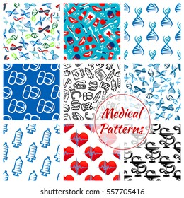 Medical seamless patterns of heart pulse, DNA and syringe, thermometer, dentistry, tooth paste, pills and drugs, apple and doctor stethoscope, ambulance,  Hippocratic snake and bowl