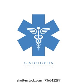 Medical service abstract vector logo illustration isolated on white background