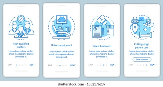 Medical service benefits onboarding mobile app page screen vector template. High quality health care. Walkthrough website steps with linear illustrations. UX, UI, GUI smartphone interface concept