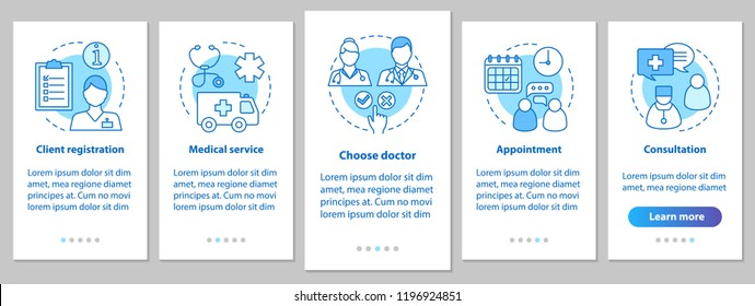 Medical service onboarding mobile app page screen with linear concept. Medicine. Private clinic steps. Medical appointment. Doctor consultation. UX, UI, GUI vector template with illustrations