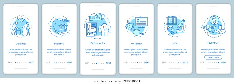 Medical service onboarding mobile app page screen vector template. Nursing care walkthrough website steps with linear icons. Geriatrics, oncology, aids assistance. UX, UI, GUI smartphone interface