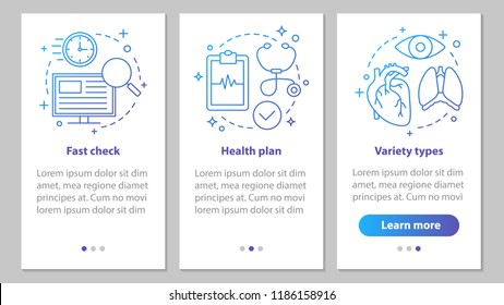 Medical services onboarding mobile app page screen with linear concepts. Diagnosis. Medical exam. Healthcare and medicine steps graphic instructions. UX, UI, GUI vector template with illustrations