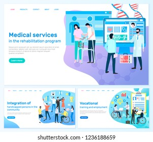 Medical services, rehabilitation program, integration of handicapped persons in community, vocational training and employment vector illustration