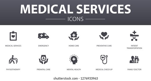 Medical services simple concept icons set. Contains such icons as Emergency, Preventive care, patient Transportation, Prenatal care and more, can be used for web, logo, UI/UX
