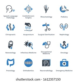 Medical Services & Specialties Icons Set 4 - Blue Series