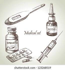 Medical set. Hand drawn illustrations