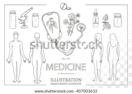 Medical Set Silhouettes Man Woman Male Stock Vector Royalty Free