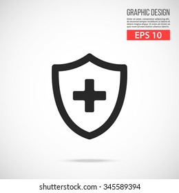 Medical shield with cross icon. Black pictogram. Modern flat design vector illustration, new concept for web banners, web site, infographics. Vector icon graphic art isolated on gradient background