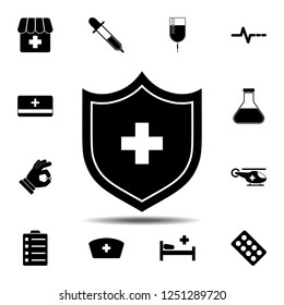 The Medical shield with cross icon. Simple glyph vector element of Medecine set icons for UI and UX, website or mobile application