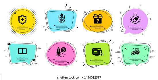 Medical shield, Idea and Online payment line icons set. Chat bubbles with quotes. Secret gift, Bitcoin project and Capsule pill signs. Book, Gluten free symbols. Medicine protection, Solution. Vector
