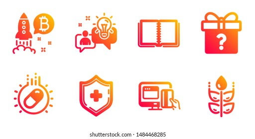 Medical shield, Idea and Online payment line icons set. Secret gift, Bitcoin project and Capsule pill signs. Book, Gluten free symbols. Medicine protection, Solution. Business set. Vector