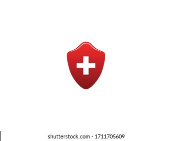 Medical shield vector logo, Protected steel guard shield concept. Safety badge steel icon, Security safeguard metal label. Presentation chrome sticker shape