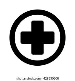 medical sign plus round icon black on white background