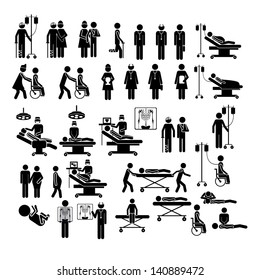 medical silhouettes over white background vector illustration