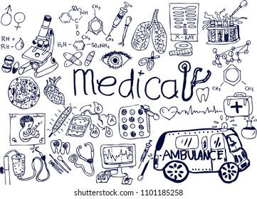 medical, sketch doodle