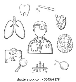Medical sketch icons with doctor encircled by an eye chart, lungs, tooth, eye, dropper, test tubes, brain and heart depicting examination, diagnosis and treatment. Sketch style vector objects