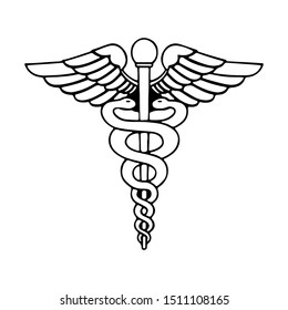 Medical Snake Vector Bold Outline Isolated on White Background - Caduceus Vector Eps