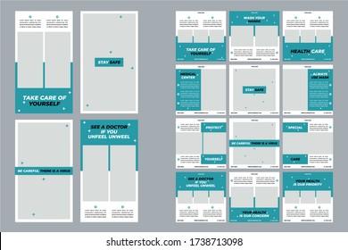 Medical Social Media Post and Story, Editable Healthcare Social Media Banner Template