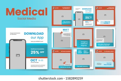Medical Social Media Post Template with red & blue color theme