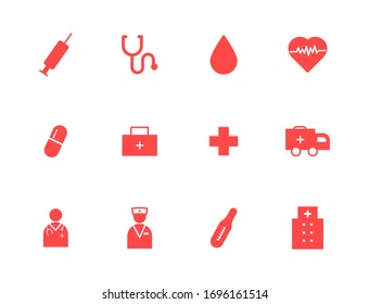 Medical solid flat icons. Stroke vector elements for trendy and modern design. Vector icons isolated on a white background. Vector illustration. Vintage texture icons.