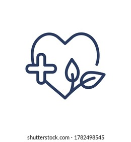 Medical spa center thin line icon. Heart, herb, leaf, cross isolated outline sign. Wellness, spa salon, clinic concept. Vector illustration symbol element for web design and apps
