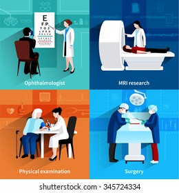 Medical specialists mri scan 4 flat icons square composition with operation room surgery abstract isolated vector illustration