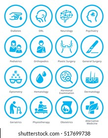 Medical Specialties Icons Set 2 - Blue Circles