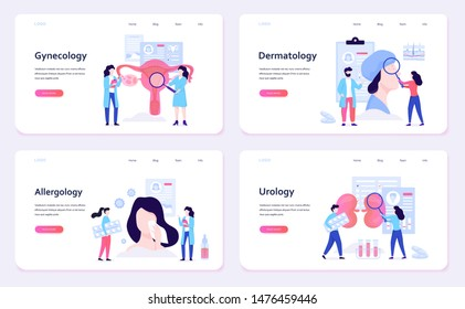 Medical specialties web banner concept set. Gynecology and allergology, dermatology and urology. Disease treatment, healthcare. Vector illustration in flat style