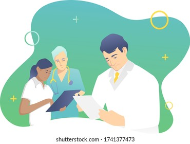 Medical staff concept. against the background of the head physician, interns look at the patient's medical history. Blue-green design. Vector illustration.