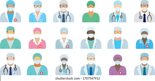 Medical staff in face masks. Icons with hospital doctors, surgeons, nurses and other medical practitioners in medical face masks.