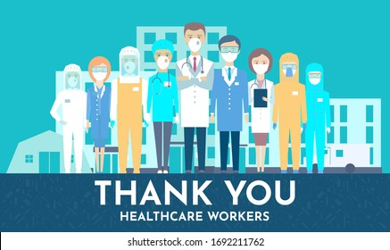 Medical staff facing hospital, hospice, ambulance, medical tent. Thank you brave healthcare working in the hospitals and fighting the coronavirus outbreak, vector illustration