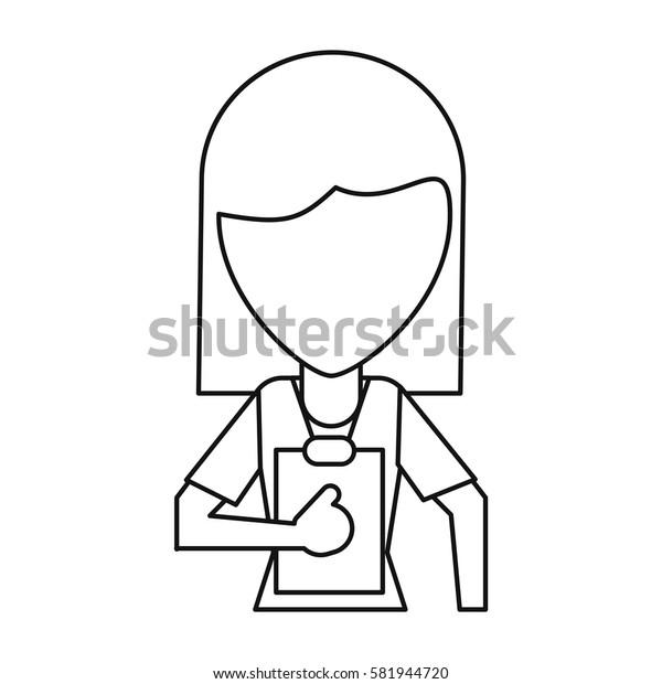 medical staff female clipboard health thin line