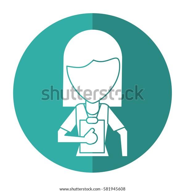 medical staff female clipboard health shadow