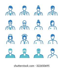 Medical staff icon set. Included the icons as doctor, nurse, therapist, surgeon, professor, trainee and more.
