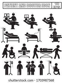 Medical Staff Icon Set with white background.