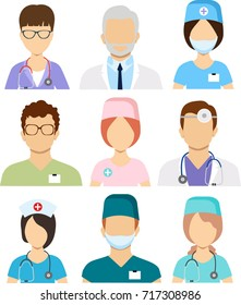 Medical staff icons. Doctors and nurses medical staffs avatars. Doctors and nurses profile.