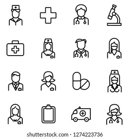 Medical and medical staff icons pack. Isolated medical and medical staff symbols collection. Graphic icons element