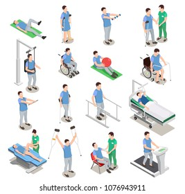 Medical staff and patients during physiotherapy and rehabilitation procedures on various equipment isometric icons isolated vector illustration