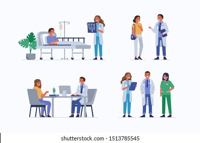 Medical staff and patients. Female doctor check patients x-ray in clinic. Male doctor therapist consulting woman. Healthcare team in hospital.Medical People characters set. Flat vector illustration.