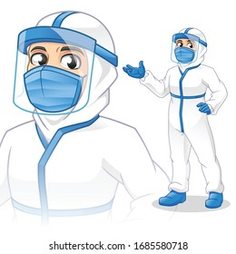 Medical Staff with Personal Protective Equipment (PPE) Present Something, People at Work, Doctor, Cartoon Vector Illustration Mascot, in Isolated White Background.