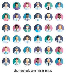 Medical staff - set of flat round icons with hospital doctors, surgeons, nurses and other medical practitioners.