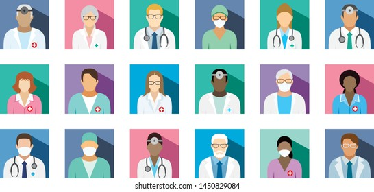Medical staff - set of flat square icons.